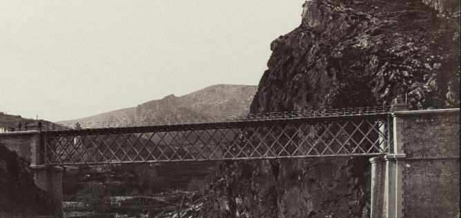 Ferrocarril de Reus a Montblanc, Puente de las Rivas, año 1867, foto José Martínez Sánchez, fondo BNE