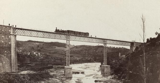 Ferrocarril de Tarragona a Montblanc, año 1867, Puente dela Rochela, foto José Martinez Sánchez, fondo BNE