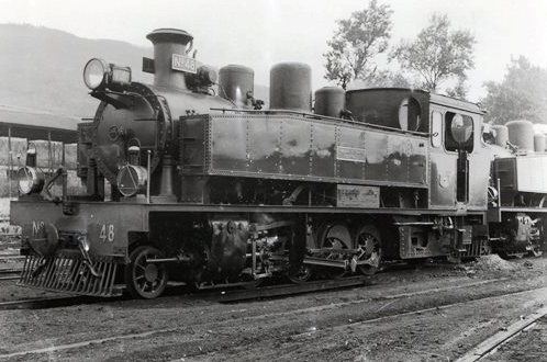 Ferrocarriles Económicos de Asturias, locomotora nº 48, foto Lawrence G. Marshall, archivo Euskotren , MVF