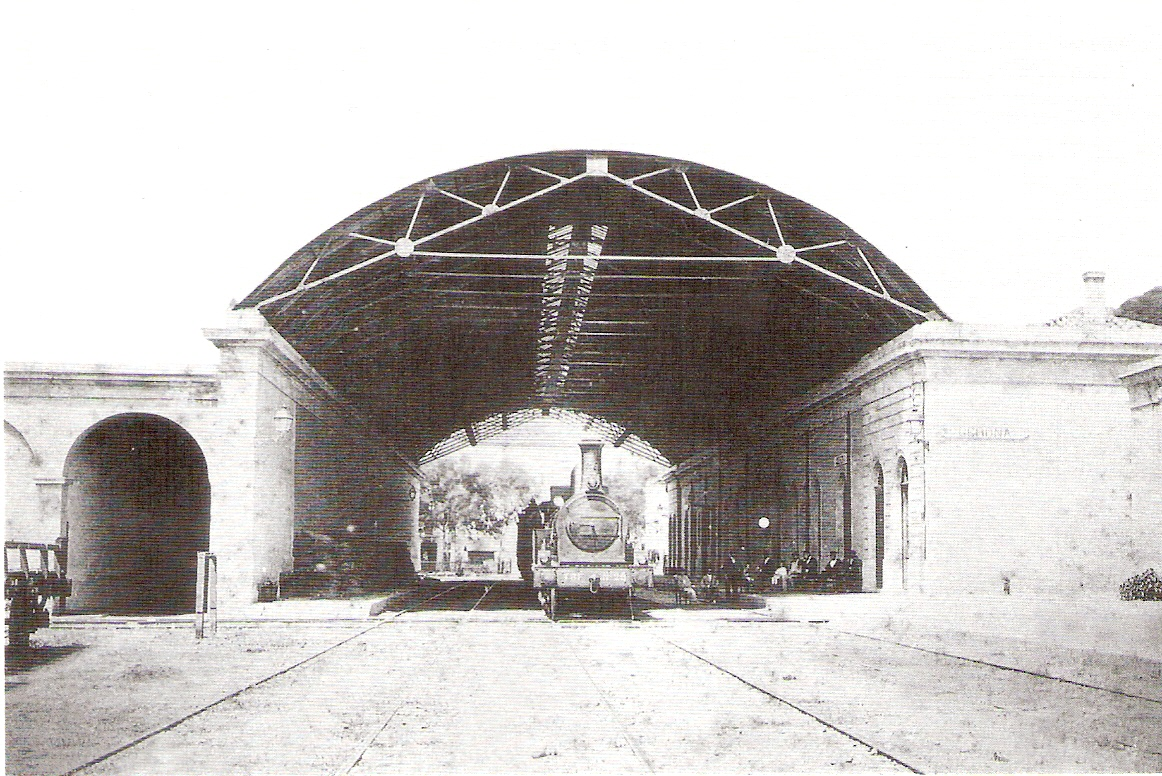 Gerona , primitiva estacion del TBF, año 1855, coleccion Jordi Marqués