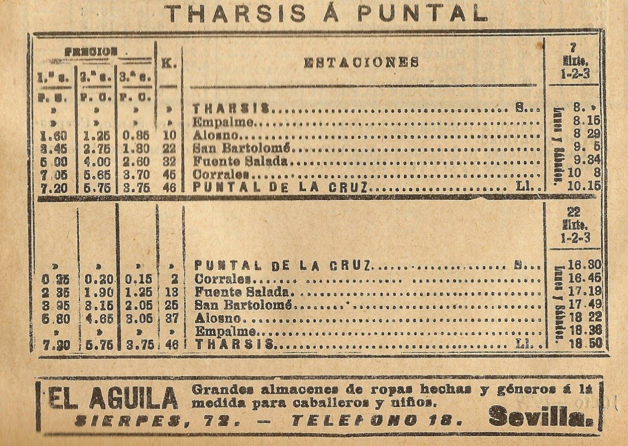 HORARIO FC DE THARSIS AL PUNTAL DE LA CRUZ EN 1929