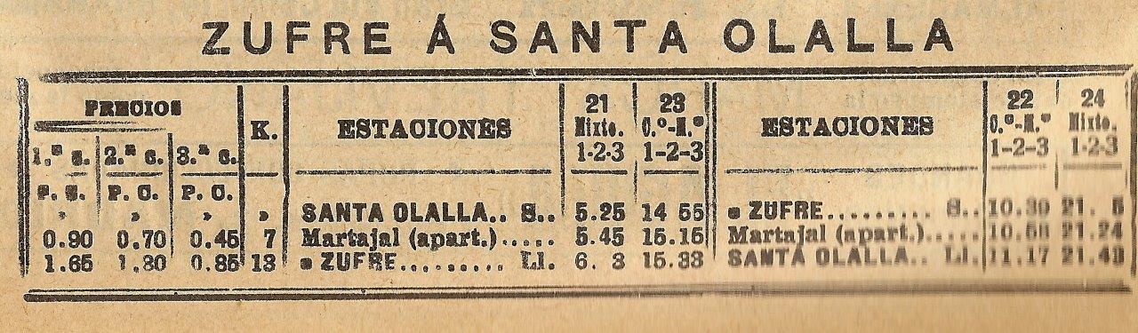 HORARIO FC DE ZUFRE A SANTA OLALLA EN 1929