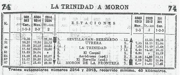 Cuadro de horarios en el itinerario de Sevilla á Morón, año 1952
