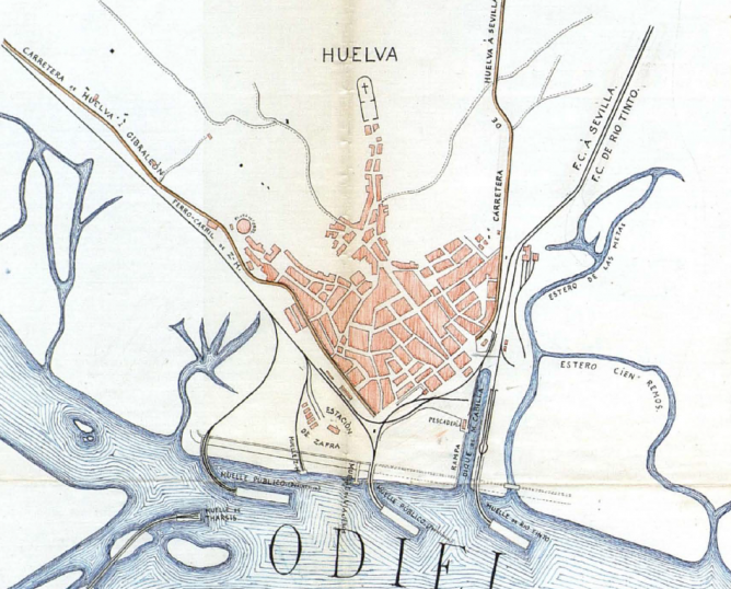 Huelva, accesos ferroviarios y muelles de carga en 1911, AHF- D-0271-007