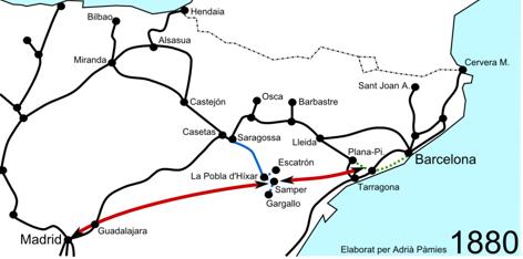 Itinerario de los directos propuesto por F. Gumá, en rojo. En azul los Carboniferos de Aragóm. Dibuo Adriá Pamies