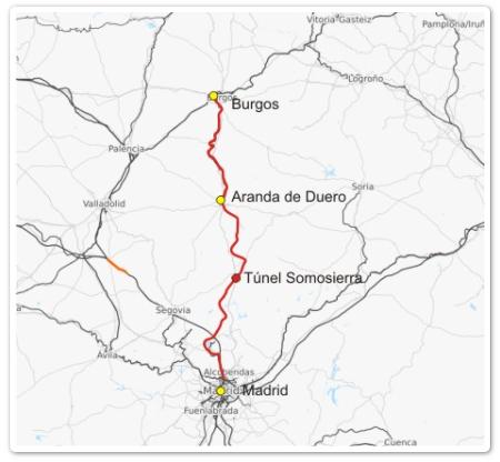 Itinerario del Directo de Madrid a Burgos, archivo Via Libre FFE
