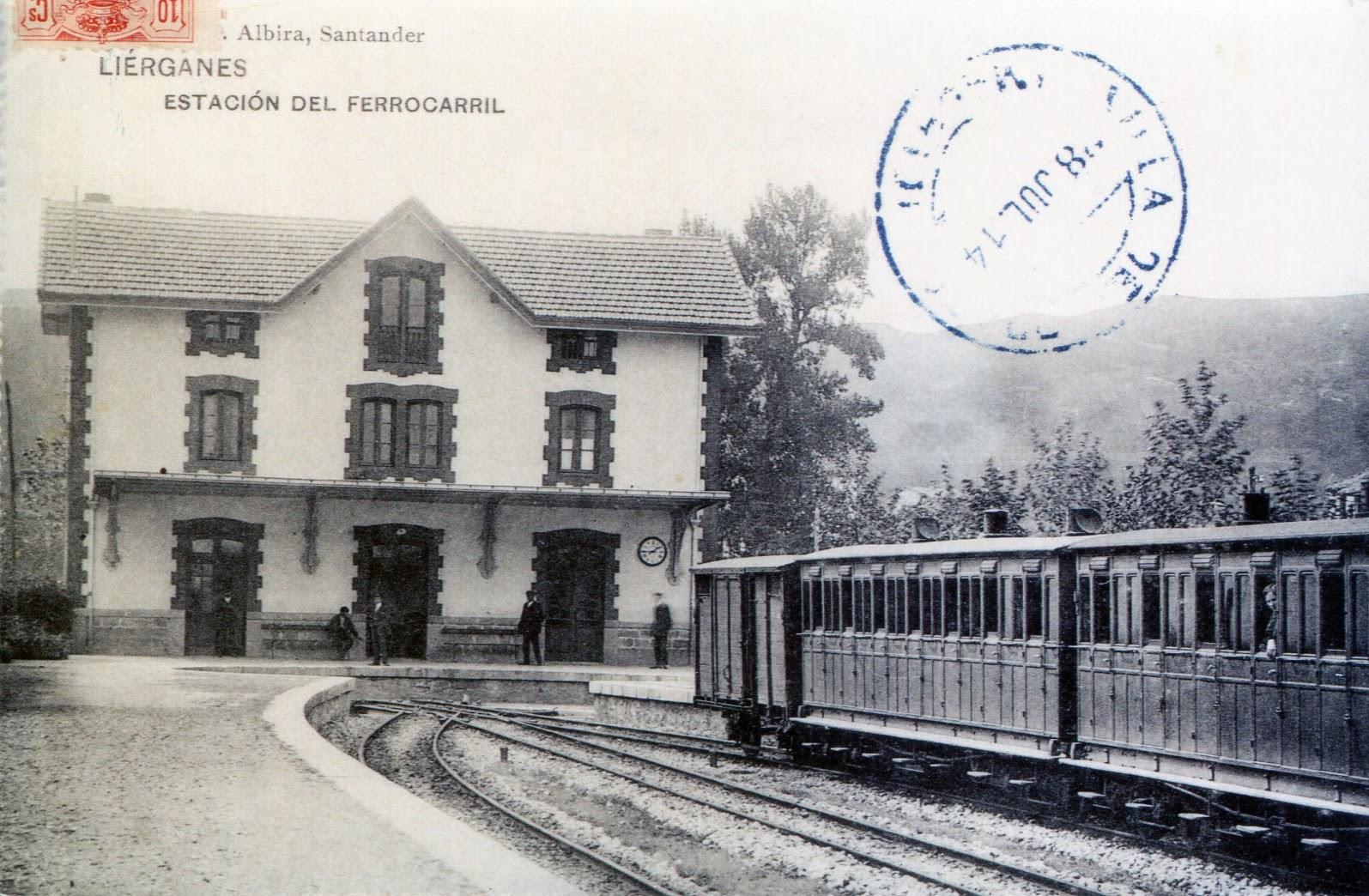 Líerganes, estacion ,Postal Comercial, Archivo Museo Vasco del Ferrocarril