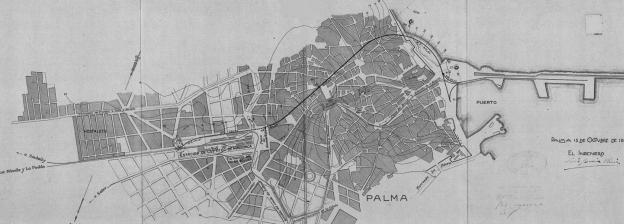 Lina subterranea de 1877 y enlace subterraneo con el Puerto de Palma abierto de 1931. Archivo SFM ,proyecto de 1926