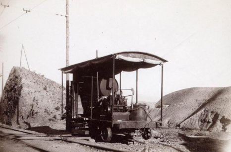 Linares Almeria, Vagoneta de los trabajos de electrificacion. c. 1909. AHF - FF 2884