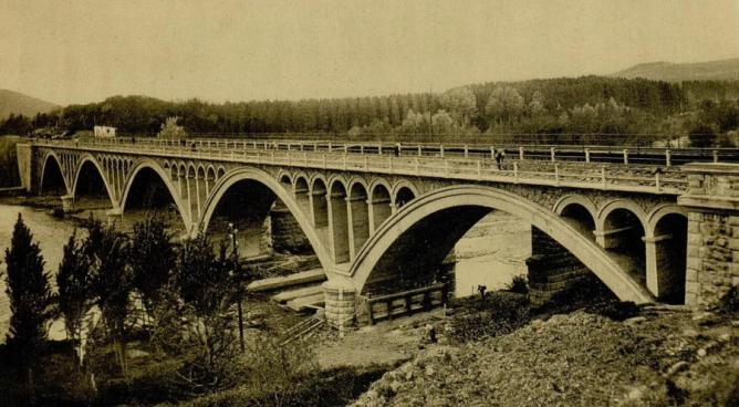 Linea de Castejon á Bilbao , Punte de Montalvo, c 1930 , archivo Guia Norte