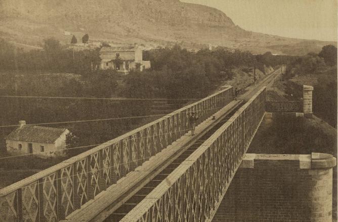 Linea de Málaga a Bobadilla, puente de Pizarra, c. 1863, foto José Spreafico, fondo BNE