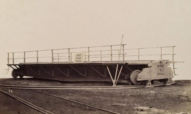 Linea de Merida a Sevilla, puente giratoruio , fondo Real Sociedad Belga de Fotografía, coleccion Jose Manuel Iglesias Nieto