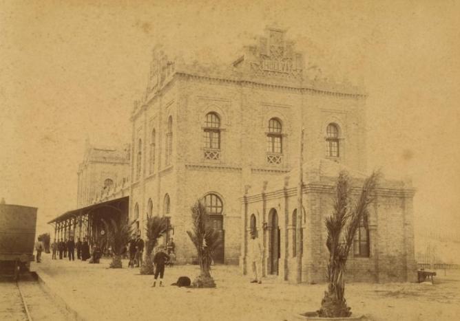 Linea de Sevilla a Huelva, año 1892 , foto Baldomero Santamaría