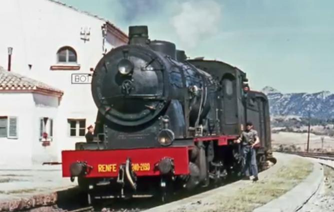 Linea de Tortosa a Puebla de Hijar, el 24.04.1967, locomotora 240.2190, foto Ian Turbull