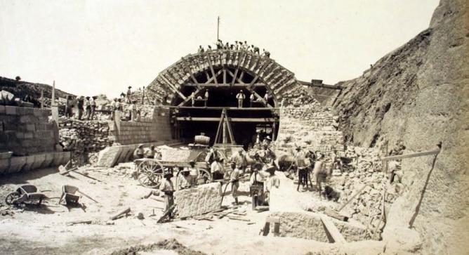 Linea de los Directos , seccion Reus a La Zaida, tunel artificial de Pradell, Foto Pau Auduard, año 1890, fondo AHF.F.0007