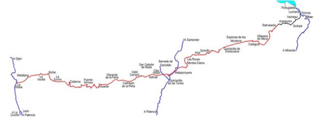 Linea del ferrocarril de La Robla, dibujo de Pedro Pintado Quintana