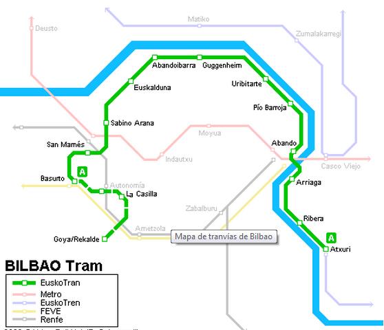 Linea del nuevo Tranvia de Bilbao