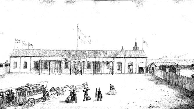 Litografía de la estación de Sevilla, del Sevilla á Cádiz, año 1864, Eduardo Anton Rodriguez, Guia del Viajero