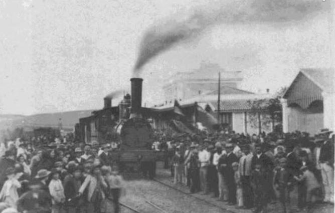 Llegada del primer tren a la estacion de Ecija, 19 septiembre 1879. Archivo APG