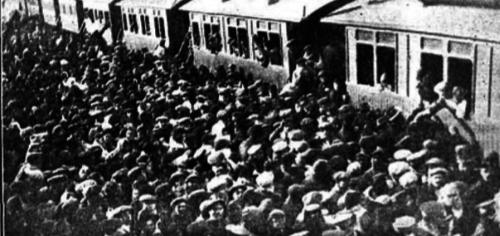 Llegada del tren inaugural a la estación de Argamasilla. 15.01.1914, La Gaceta de los Caminos de Hierro