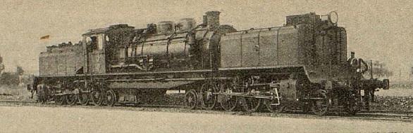 Locomotora del Central de Aragon en la linea del Caminreal a Zaragoza, año 1933 , revista I. y C.
