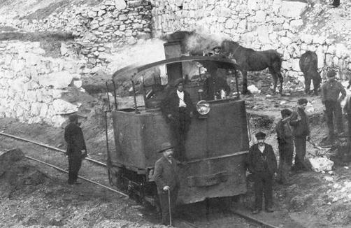 Locomotora Cockerill utilizada en la construcción del Fc de la Robla, archivo Museo Vasco del Ferrocarril