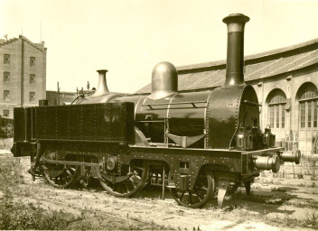 Locomotora Martorell , imagen restaurada con tanques laterales, fondo MFC
