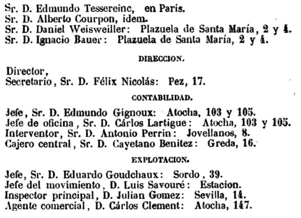 MZA consejo de Administracion y cargos de la compañía en 1858