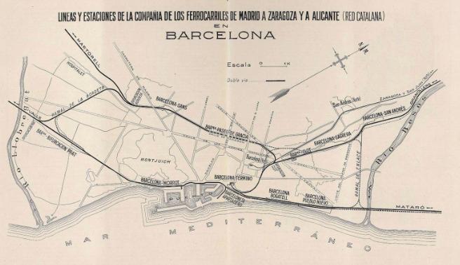 MZA lineas en el entorno de Barcelona , plato tomado de la revista I y C, año 1925