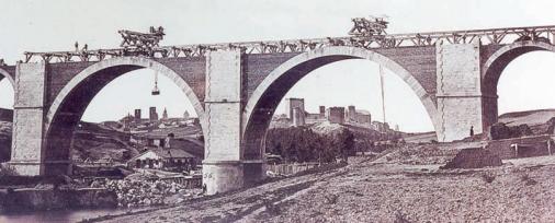 Madrid á Irun , puente sobre el Adaja, Arevalo , año 1864