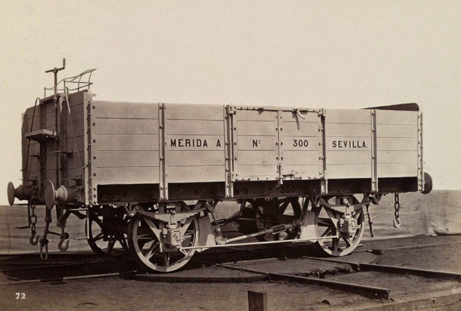 Merida a Sevilla , vagon Bordes Medios, foto de la Real Sociedad Belga de Fotografía, Vagon de Steliers de la Dyle, coleccion Jose Manuel Iglesias Nieto