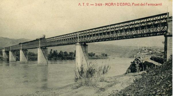 Mora de Ebro , puente sobre el Ebro, Postal comercial