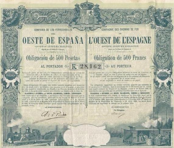 Obligacion de la Compañia del Oeste de España