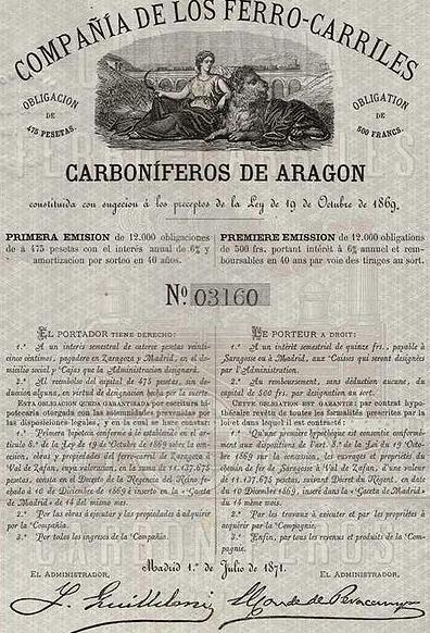 Obligacion emitida en 1871, archivo Ferropedia
