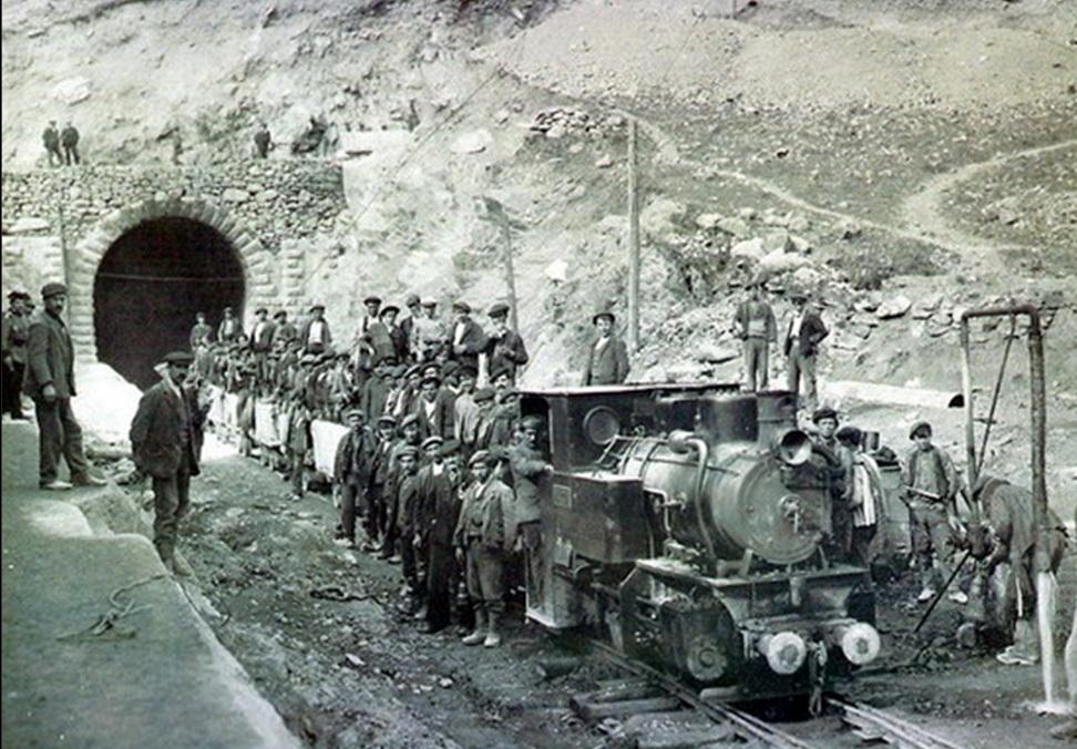 Obras del túnel de Somport, año 1910, fotografo desconocido
