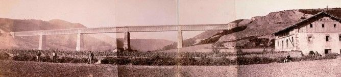 Viaducto de Ormaiztegui, año 1864, foto Jean Laurent , fondo Bibliteca Nacional de España, Ministerio de Cultura