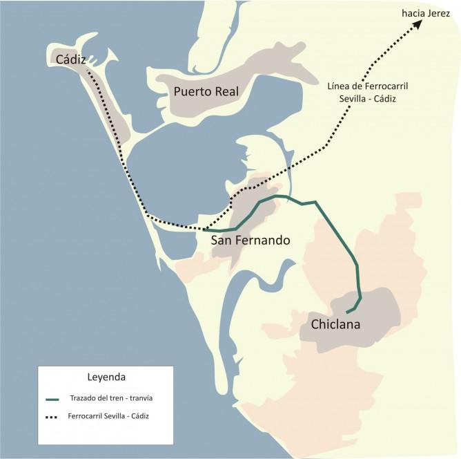 Plano del tren-Tram de la Bahía de Cádiz