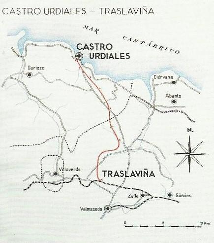 Plano de la línea de Castro Urdiales a Traslaviña
