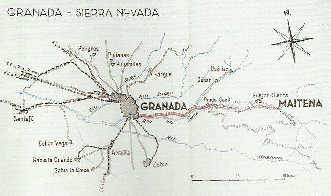 Plano Granada a Sierra Nevada