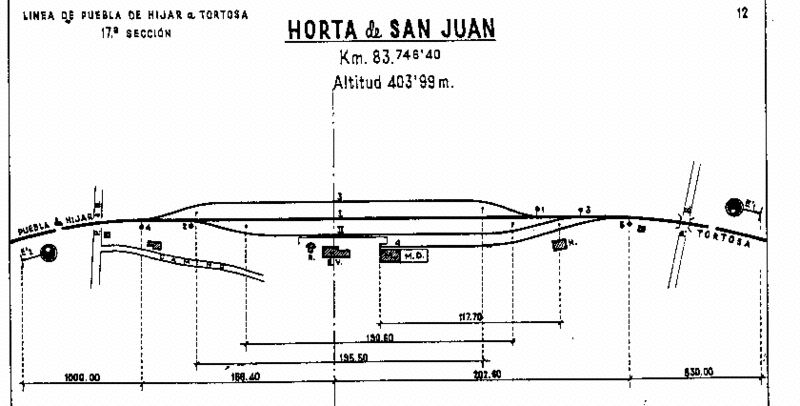 Plano de la estación de Horta de San Juan