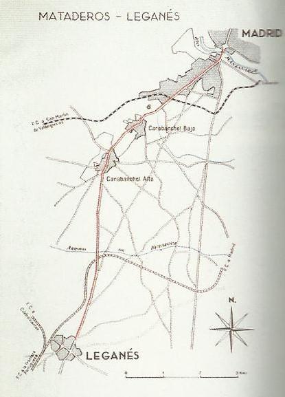 Plano de la línea de Mataderos a Leganés