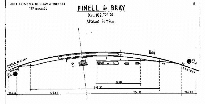 Plano. de la estacion de Pinell de Bray