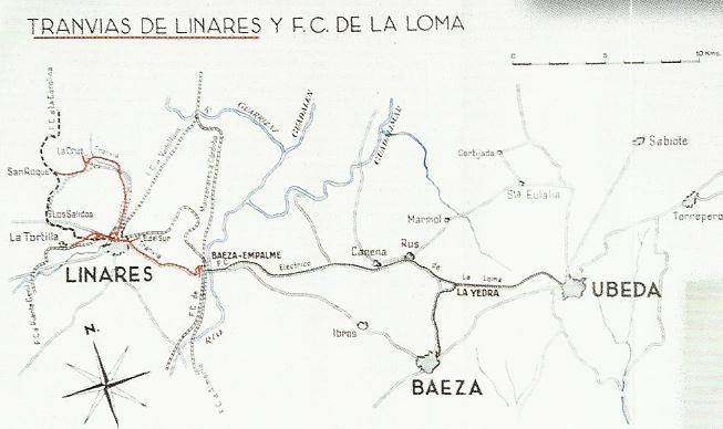 Plano de Tranvias de Linares- Ferrocarril de La Loma