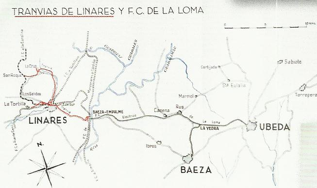 Plano Tranvias de Linares- Ferrocarril de La Loma