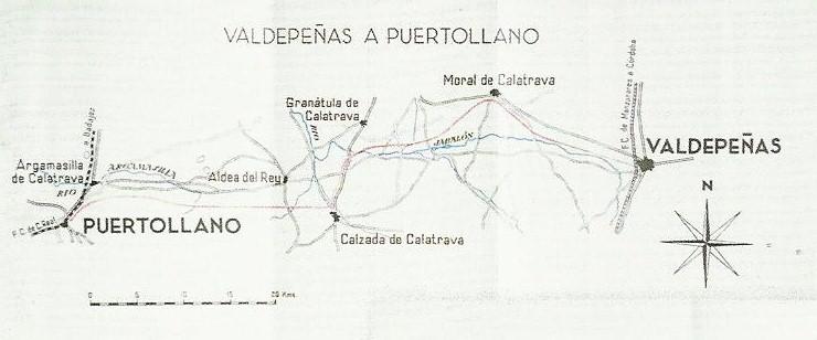 Plano Valdepeñas a Puertollano