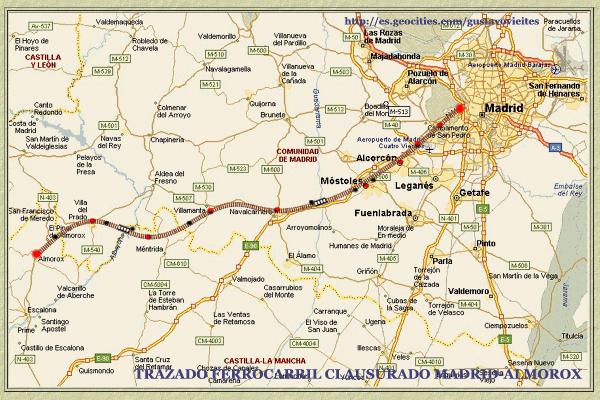 Plano de Madrid a Almorox