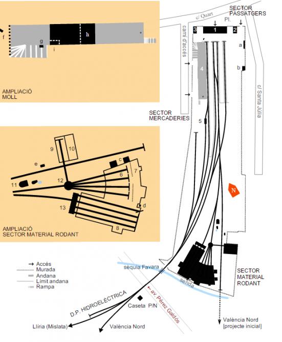 Plano de la estación principal de Valencia en la Calle Cuarte, Fondo Ministerio de Cultura, AGAE , caja AGA 25-7345