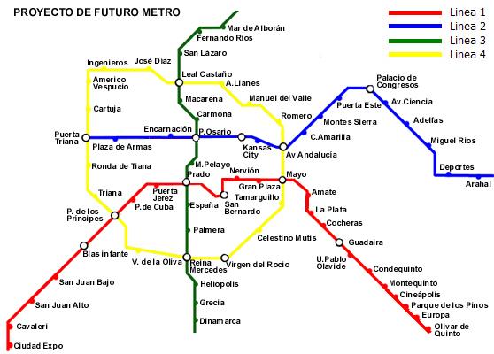 Plano de las lineas del Metro de Sevilla