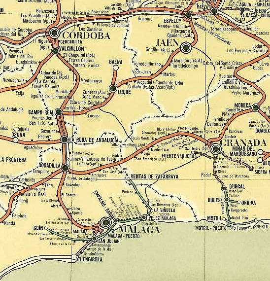 Plano de linea entre Córdoba-Malaga y Granada