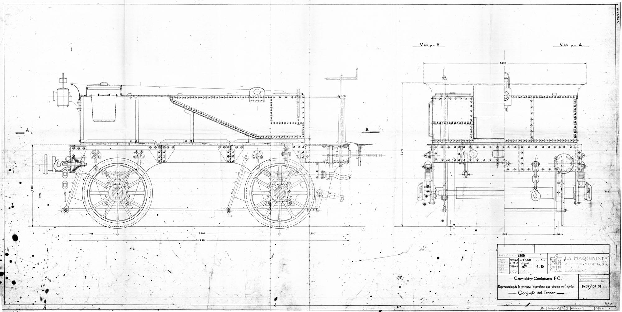 Plano del Tender de la Mataró . MTM , Museo del Ferrocarril de Vilanova i la Geltrú